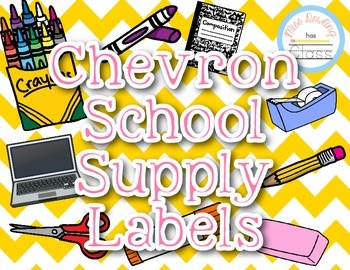 Yellow Chevron School Supply Labels
