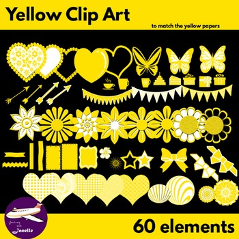 Yellow Clip Art Decoration Scrapbooking Elements - 60 items