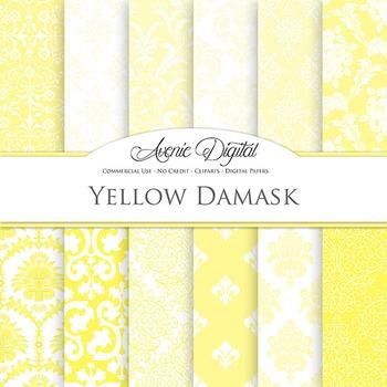 Yellow Digital Paper patterns ornate wedding scrapbook bac