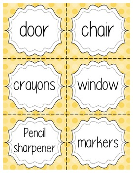 Yellow Dot Classroom Labels