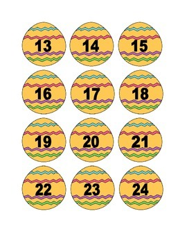 Yellow Easter Egg Numbers for Calendar or Counting Activity