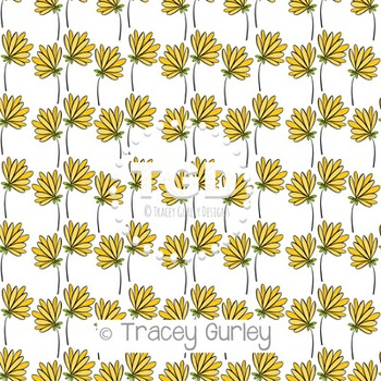 Yellow Flowers Pattern on White digital paper Printable Tr