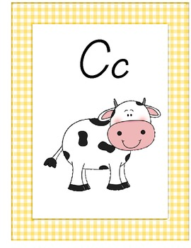 Yellow Gingham Alphabet Wall Posters
