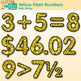 Yellow Glitter Math Numbers Clip Art {Great for Classroom