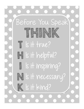 Gray THINK Poster (Yellow & Gray Decor)