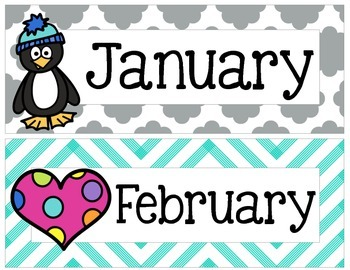 Yellow, Gray, and Teal Chevron and Quatrefoil Months of th