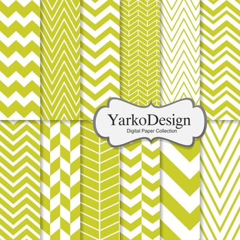 Yellow Green Chevron Digital Scrapbooking Paper Set, 12 Di