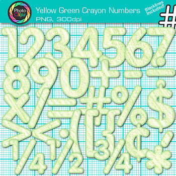 Crayon Texture Numbers Clip Art {YELLOW GREEN} - Clip Art