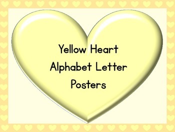 Yellow Heart Full Page Alphabet Letter Posters Uppercase a