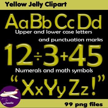 Alphabet Clip Art Yellow Jelly + Numerals, Math Symbols &