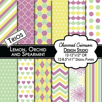 Yellow, Lavender, and Mint Green Trio Digital Paper 1187
