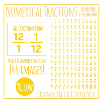 Yellow Numerical Fractions - Numerator and Denominator Com