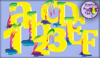 Yellow Paint Splodge Letters and Numbers