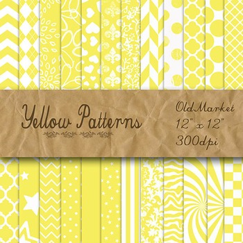 Yellow Pattern Designs - Digital Paper Pack - 24 Different
