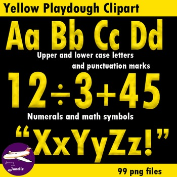 Yellow Playdough Look Alphabet Clip Art for Bulletin Board