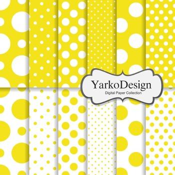 Yellow Polka Dot Digital Scrapbooking Paper Set, 12 Digita