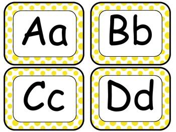 Yellow Polka Dot Word Wall