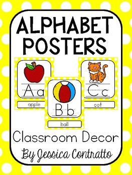 Yellow Polka Dots ABC Posters