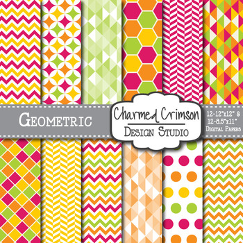 Yellow, Red, Lime Green, and Orange Geometric Digital Paper 1363