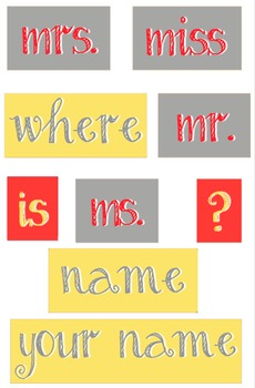 Yellow, Red and Gray - WORDS for your Where is the counselor sign