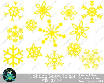 Yellow Snowflakes {Upzaz Digital Clipart}