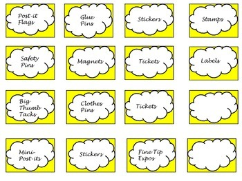 Yellow Teacher Toolbox Labels (39 drawers)
