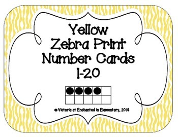 Yellow Zebra Print Number Cards 1-20