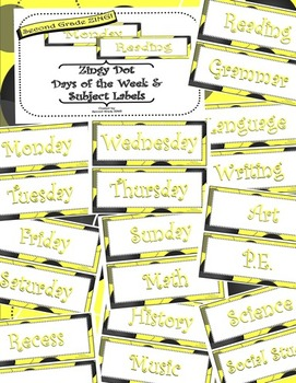 Yellow Zingy Dot Days of Week and School Subjects Classroo