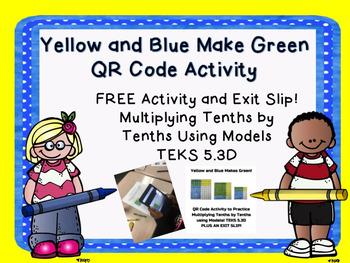 Yellow and Blue Make Green TEKS 5.3D QR Code Activity Tent