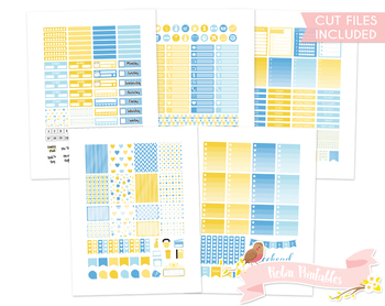 Yellow and Blue Printable Weekly Planner Stickers fits Eri