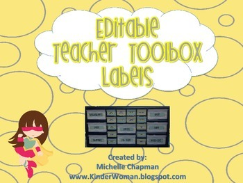 Yellow and Gray Chevron and Circles Teacher Toolbox Labels