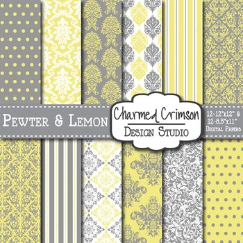 Yellow and Gray Damask Digital Paper 1201