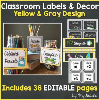 Yellow and Gray EDITABLE Classroom Decor: Labels, Signs, B