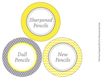 Yellow and Gray Pencil Caddy Labels