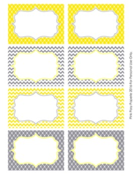 Yellow and Gray Theme Classroom Decor Bin Labels