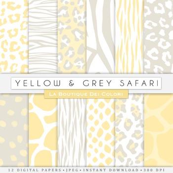 Yellow and Grey Animal Prints Digital Paper, scrapbook bac