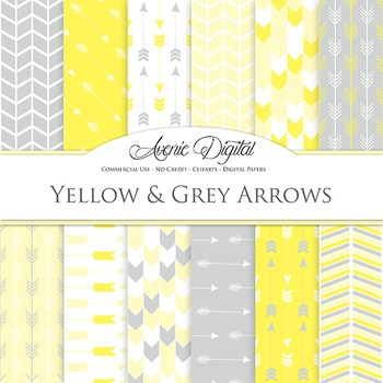 Yellow and Grey Arrows Digital Paper patterns gray tribal