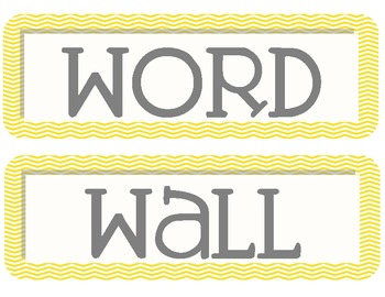 Yellow and Grey Chevron Word Wall