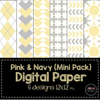 Yellow and Grey Mini Pack Digital Paper