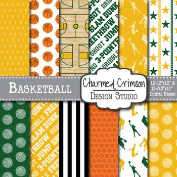 Yellow and Hunter Green Basketball Digital Paper