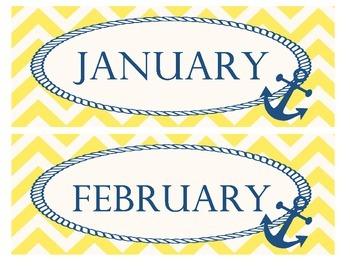 Yellow and Navy Calendar Months