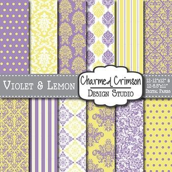 Yellow and Purple Damask Digital Paper 1264