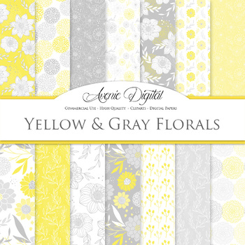 Yellow and grey Floral Digital Paper patterns nursery dahl
