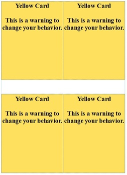 Yellow/Red Cards for Behavior Management