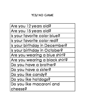 Yes/ No Game Autism