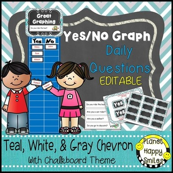 Yes/No Graph Daily Questions in a Teal and Chalkboard Them