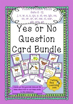Yes or No Question Cards Phonics Phase 3 Bundle Sets 6-12