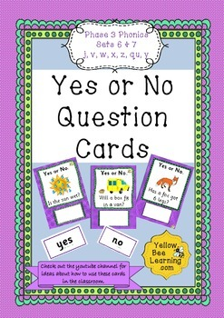 Yes or No Question Cards Phonics Phase 3 Sets 6 & 7 - j v
