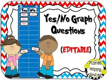 Yes/No Graph Questions in a Red, White & Blue Chevron Prin