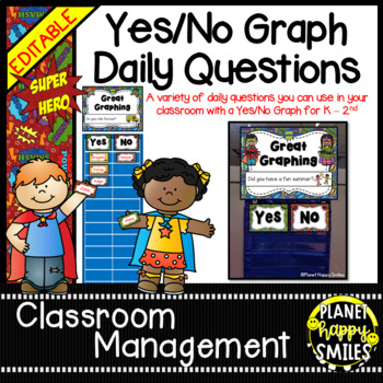 Yes/No Graph Questions in a Super Hero Theme ~ EDITABLE